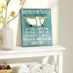 40 Spectacular Bathroom Picture And Wall Art Decor Ideas - While remodeling parts of your home can be difficult, it can also be a very fun thing to do and a creative outlet for expressing yourself. One good pl. Bathroom Rules, Bathroom Art, Bathroom Ideas, French Bathroom, Metal Wall Art, Wood Art, Wood Vanity, Bathroom Pictures, Amazing Bathrooms