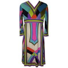 e9302ba5dea4 Emilio Pucci for Saks 1960s Multicolored Silk Jersey Pucci Print Dress
