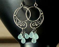 SANDRINE Earrings Sterling Silver Chalcedony - SimplyAndBeautiful - Chalcedony
