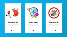 App screen set with antibacterial protec. Medical Icon, Medical Logo, Web Banner, Banner Template, Bacteria Shapes, Emoji Characters, Character Symbols, Protection Symbols, Medical Background