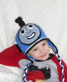 Thomas the Train crochet hat. I'm going to start making these!