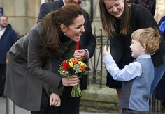 NewMyRoyals:  Visit to North Wales to visit charities focusing on children's wellbeing, November 20, 2015-The Duchess of Cambridge received a bouquet from 3-year-old Theo