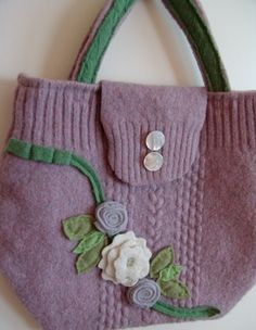 Lavender and green Recycled wool sweater PURSE by msadesignstudio
