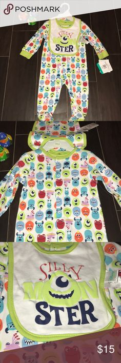 Disney 2 piece set Size 3-6 mo. Super cute Disney 2 piece set. Comes with the onesie with closed feet and the reversible bib. Normally $28! NWT Disney Matching Sets
