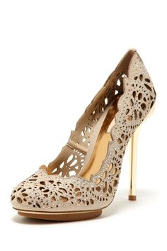 BCBGMAXAZRIA Peacock Pump - laser cut leather with crystal details and gold tone metallic heel