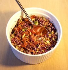 Recipe for best salad ever: purple cabbage, broccoli, bacon and almonds