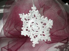 Snowflake with bead Crochet Christmas decoration White crochet snowflake Snow flake New year decor Lace snow flake Christmas tree ornaments by CrochetedCosiness on Etsy