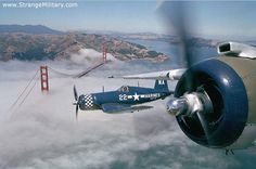 FOG SHROUDED SAN FRANCISCO BRIDGE - FLIGHT OF WWII FIGHTERS - CORSAIRS
