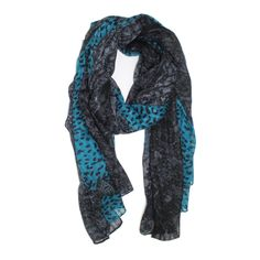 Animal Print Scarf with Lace Trim - Blue
