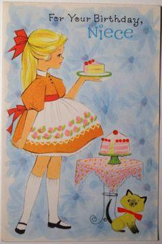 Vtg 1950s Unused Niece Birthday Greeting Card, Serving Cake to Siamese Cat
