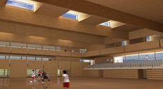 Basketball Court, 3d, Contemporary Architecture, Interiors