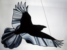 Stained Glass Raven Stained Glass Bird Raven Art от BerlinGlass