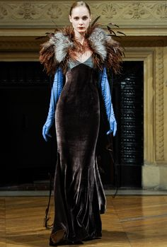 """alexis mabille couture 2011. Velvet dress. Velvet is a type of woven tufted fabric in which the cut threads are evenly distributed, with a short dense pile, giving it a distinctive feel. By extension, the word velvety means """"smooth like velvet."""" Velvet can be made from either synthetic or natural fibers."""