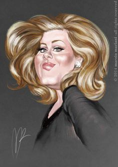 Adele Caricature by Marzio Mariani. #Celebrity #Caricatures #Oddonkey