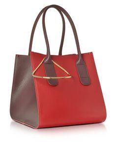 c039f25d36e05 Roksanda 红色和板栗色皮革迷你周末包 - FORZIERI