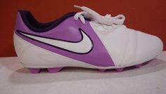 Nike Jr Soccer Cleats CTR360 Enganche III FG-R Sizes 4Y &4.5Y Color White/Purple #Nike
