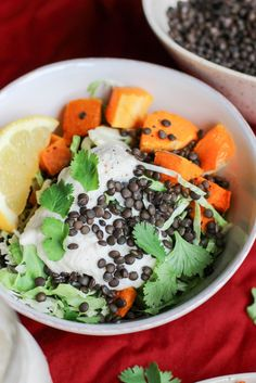 Black Beluga Lentils, Brussels Sprouts, Sweet Potatoes & Vegan Cashew Cream Sauce | apolloandluna.com
