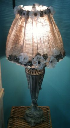 New lamp shade.  Burlap, lace, buttons, & bling!