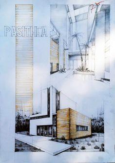 Subiecte Page 6 Vlad Bucur exterior Architecture Blueprints, Landscape Architecture Drawing, Colour Architecture, Architecture Sketchbook, Architecture Board, Modern Architecture, Landscape Design, Interior Design Presentation, Casa Patio