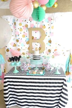 Confetti birthday party dessert table! See more party planning ideas at CatchMyParty.com!