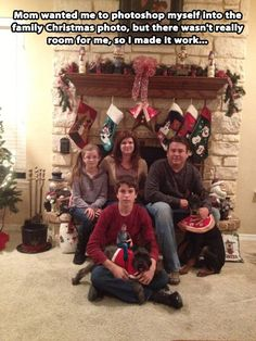 Best Christmas photo ever… hahaha hilarious. I didn't even see him at first