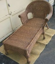 VINTAGE WICKER CHAISE LOUNGE : wicker chaise lounge chair - Sectionals, Sofas & Couches
