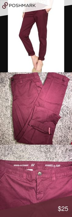 GAP broken-in straight chino pants Worn twice. Beautiful burgundy Maroon colored pants. Broken in straight leg pants size 02, part of the Khakis line from gap. 5 pockets with zip fly and button closure. GAP Pants Straight Leg