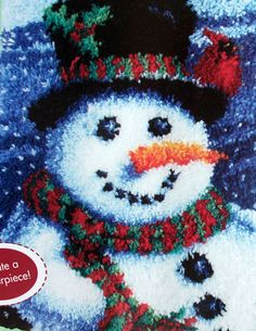 Latch Hook Rug Making Kit Snowman Including Free Tool Ebay
