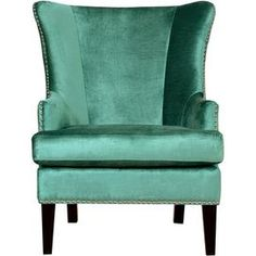 """elegant wood-framed arm chair, showcasing  velvet upholstery, a wingback silhouette, and nailhead trim.      Product: ChairConstruction Material: Wood and velvetColor: TurquoiseFeatures:   Hand-applied silver nailhead trimRemovable seat cushionWingback designDimensions: 40.2"""" H x 32.3"""" W x 36.2"""" DCleaning and Care: Spot clean"""