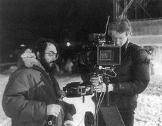Stanley Kubrick and Steadicam operator Garrett Brown filming on the nighttime exterior set of The Shining.