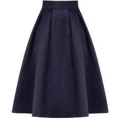 Coast Meslita Skirt , Navy found on Polyvore featuring skirts, navy, midi skirt, midi flare skirt, calf length skirts, mid-calf skirt and navy skirt