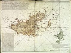 - 18th century map of Guernsey before the land reclamation joining...