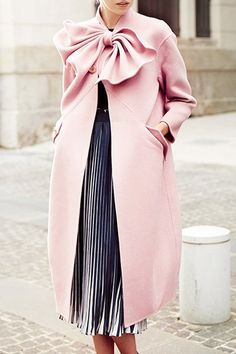 Such a Pretty Look! Pink Loose-Fitting Coat with Graceful Bow Tie Collar!!!
