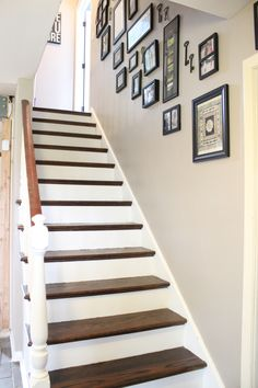 Nice stairs. Perfect Greige -Paint color for living room & kitchen - Sherwin Williams analytical gray