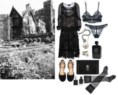 Teatime with ghosts by ghoulnextdoor  Dress / Only Hearts top / La Perla tight, $16 / Only heart / Black envelope clutch, $27 / Pamela Love ...