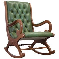 Vintage Chesterfield Rocking Chair In Green Leather   From A Unique  Collection Of Antique And Modern Rocking Chairs At ...