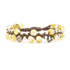 Chan Luu - Yellow Fire Agate and Silver Nugget Bracelet on Brown Cord, $115.00 (http://www.chanluu.com/bracelets/yellow-fire-agate-and-silver-nugget-bracelet-on-brown-cord/)