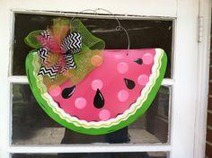 Watermelon door hanger by LilyPad Designs Wooden Door Signs, Wooden Door Hangers, Wooden Doors, Vintage Sewing Notions, Painted Doors, Door Design, Seasonal Decor, First Birthdays, Burlap