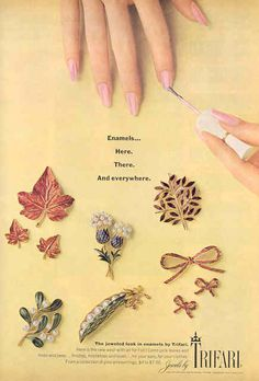 """1967 -TRIFARI - ADS - """"Enamels here, there and everywhere"""". - The jeweled look in enamels by Trifari - Here is this new ..."""