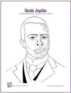 Scott Joplin | Composer Coloring Page - http://makingmusicfun.net/htm/f_printit_free_printable_worksheets/joplin_coloring_page.htm