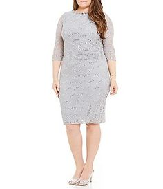 Jessica Howard Plus Bead-Neck Lace Sheath Dress