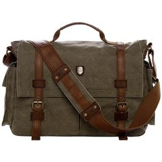 """17"""" Laptop Army Green Leather Canvas Messenger Bag (4.955 RUB) ❤ liked on Polyvore featuring bags, messenger bags, leather laptop messenger bag, brown messenger bag, leather messenger bag, brown leather messenger bag and vintage messenger bag"""