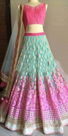 Striking Pink And Blue Net Designer Lehenga Choli With Dupatta.