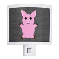 Cute Little Pig Drawing with Polka Dots Pattern Night Light - animal gift ideas animals and pets diy customize