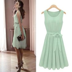 Size M Women's Sleeveless Light Green Pleated Chiffon Casual/party Dress with Belt Off Runway $20.00