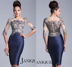 Elegant 2014 Sheer Three Quarter Sleeves Lace Mother Of The Bride Dresses Jewel Neck Navy Blue Party DY-381 $148.99
