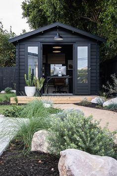 It's been a long time coming – our new studio space from SheShedz is finally revealed in our backyard! Backyard Office, Backyard Studio, Backyard Sheds, Garden Studio, Garden Office, Backyard Landscaping, Garden Sheds, Outdoor Rooms, Outdoor Living