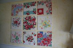 Vintage tablecloth art. Nice display idea for cutters. (Although these don't look to me like they were cutters!)