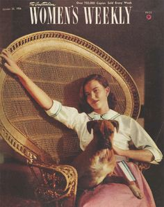 Relaxing in a magnificent wicker chair, in a pretty blouse with a loveable pooch on your lap. | The Australian Women's Weekly, 24 October 1956