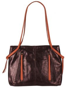 Carmen tote handbag by Latico is made with a buttery soft leather in  blackberry tan 70e1920ea8cc1